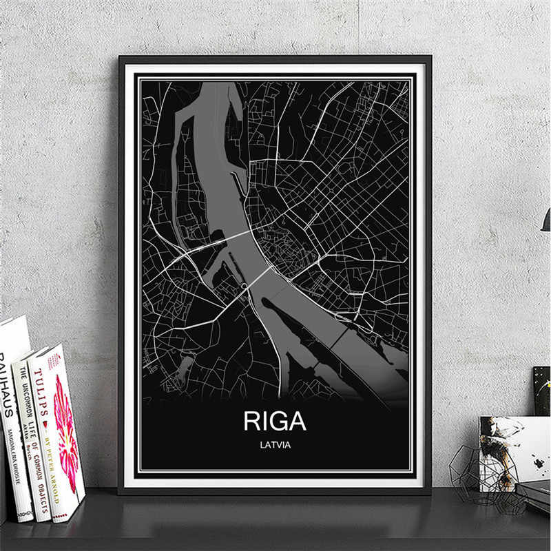 Hot koop RIGA olieverf wereldkaart Abstract print foto Moderne Stad poster Canvas Gecoat papier Cafe Decor home Living kamer