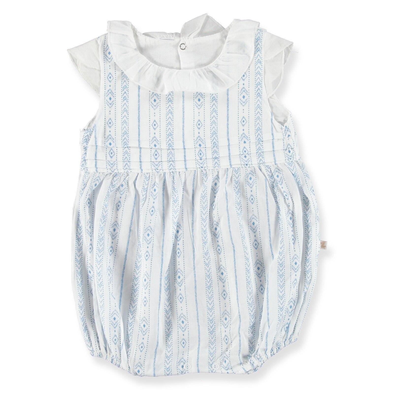 BabyZ Ruffled Collar Texture Baby Short Romper