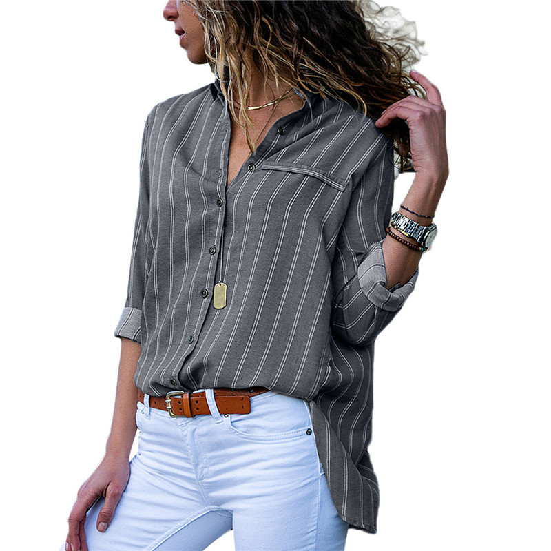 Women Button Down Shirt Fashion Top Female Stripe Long Sleeve Casual Blouse Office Ladies Stand Collar Work Blusa Femininas