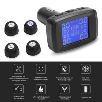 VODOOL רכב אלחוטי TPMS צמיג לחץ ניטור מערכת LCD תצוגה דיגיטלית צמיג טמפרטורת אזהרה עם 4 חיישן USB שקע