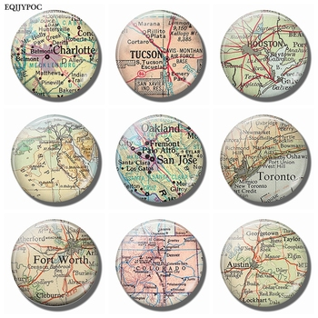 Charlotte Tucson Houston Egypt San Jose Toronto Colorado Austin Texas Ft. Worth Map Souvenir Fridge Magnets Refrigerator Sticker image