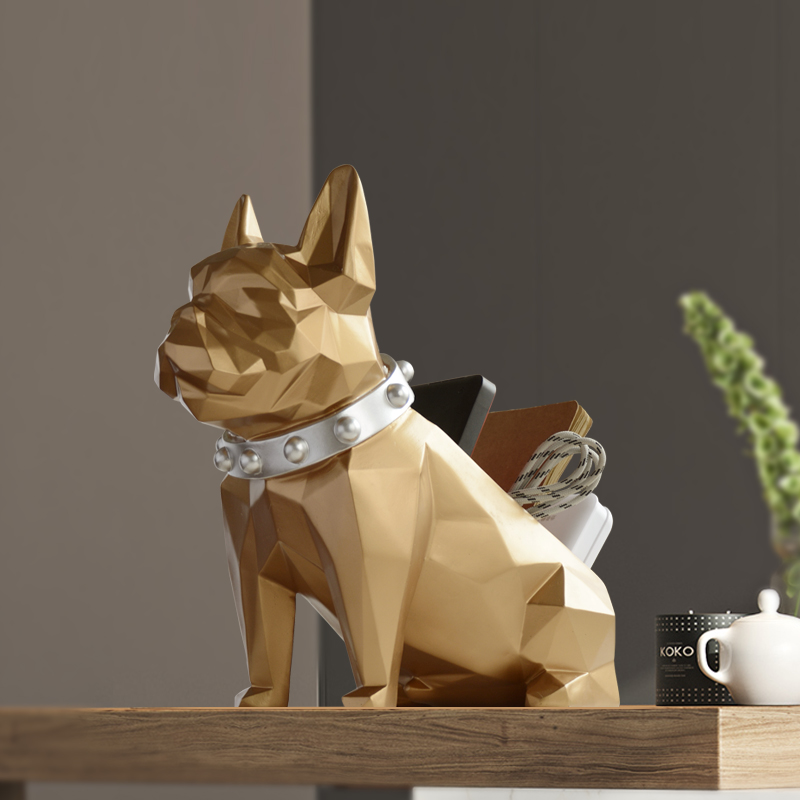 Storage box for home decor office Mobile phone tools control organizer Resin Dog statue figurine for tabletop Desktop holder in Home Office Storage from Home Garden