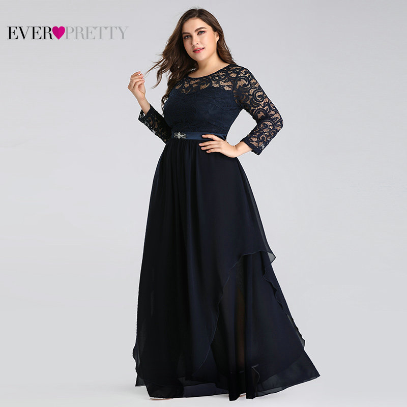 Plus Size Mother Of The Bride Dresses Ever Pretty 7716 Elegant Long Sleeve Lace A-line Crystal Sashes 2020 Evening Party Gowns