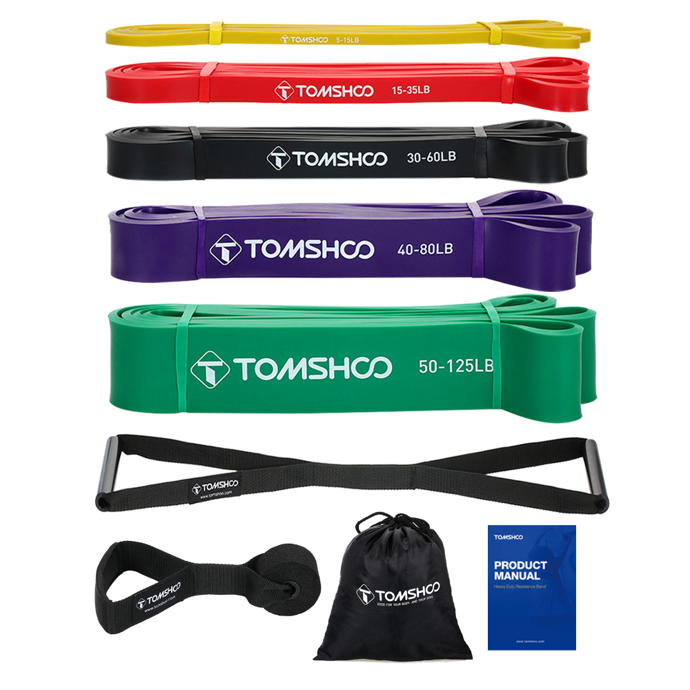 TOMSHOO 5pcs Pull Up Fitness Resistance Band Natural Latex Resistant Loop Bands Exercise Stretch Band with