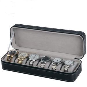 Image 5 - 6 fente boîte de montre Portable voyage fermeture éclair boîtier collecteur stockage bijoux boîte de rangement (noir)
