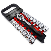 19PCS Car Repairing Tools Kit 3/8 inch 1/2 inch Sockets and Ratchet Wrench for Car Repairing Tire Disassembly Multifunctional