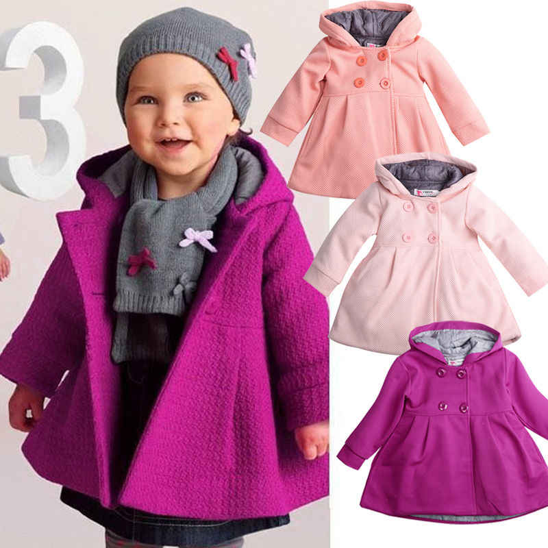Toddler Kids Baby Girls Warm Fall Trench Coat Hooded Newborn Infant Girls Cute Princess Jacket Long Sleeve Children Clothes Tops