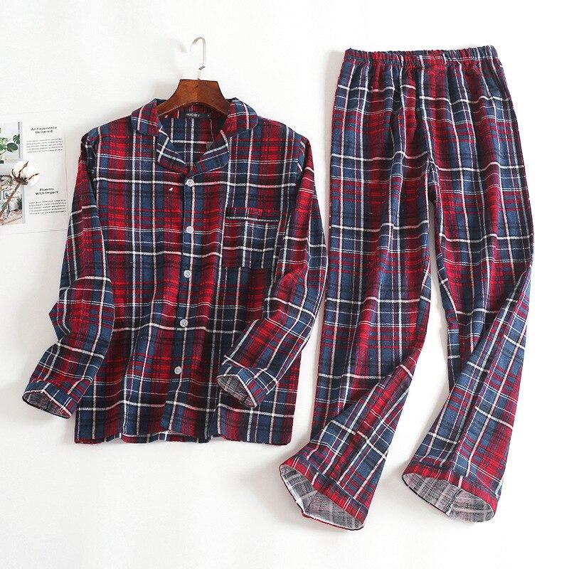 Новинка, 100% хлопок, мужской осенне зимний Пижамный костюм с длинными рукавами и брюками, красная фланелевая одежда для сна в клетку, бархатный мягкий комплект одежды-in Пижамные комплекты для мужчин from Нижнее белье и пижамы on AliExpress - 11.11_Double 11_Singles' Day