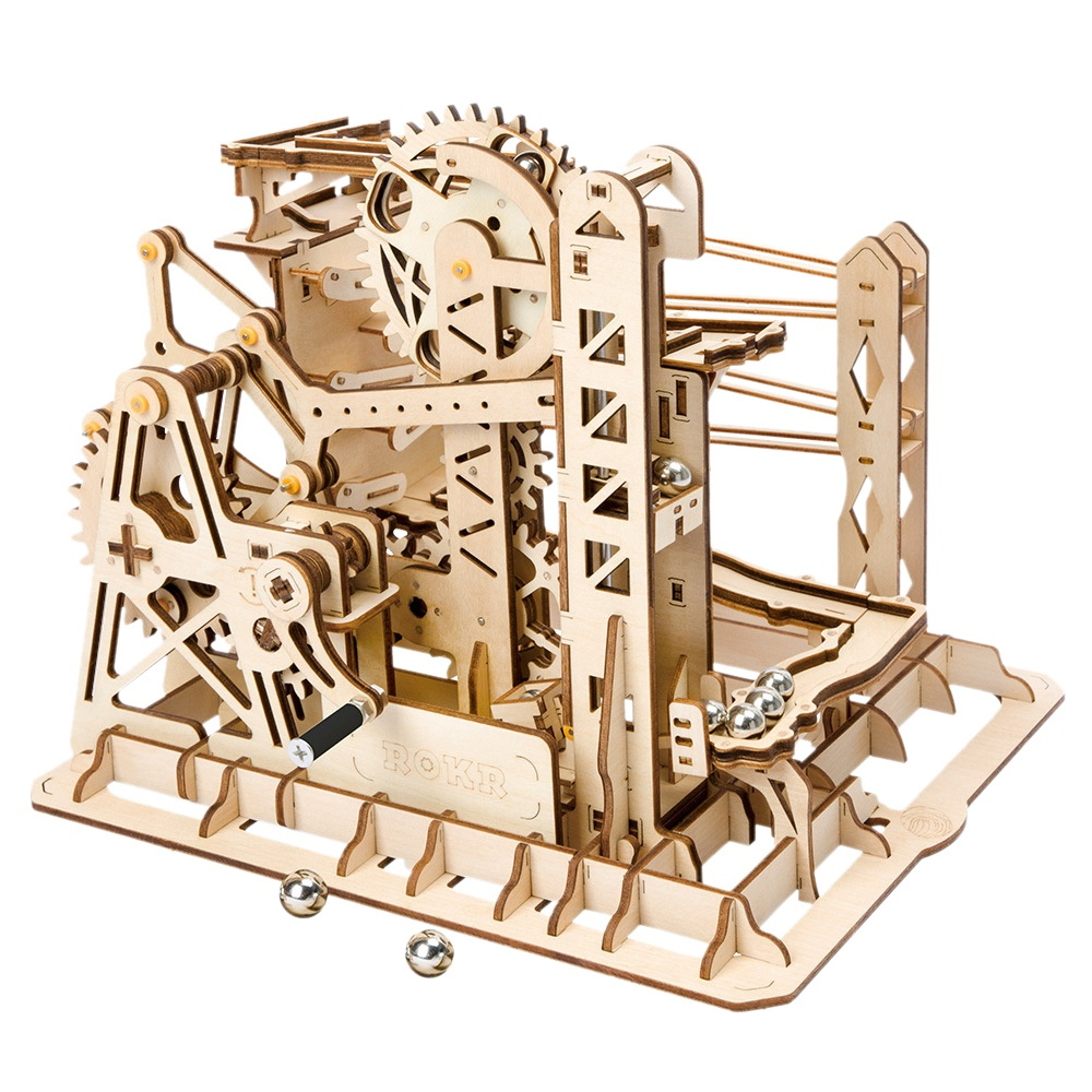 Robotime bricolage Ascenseur Coaster Magique Creative Marble Run Jeu modèle en bois Kits de Construction jouet assemblage Cadeau Pour Enfants Adulte Lg503