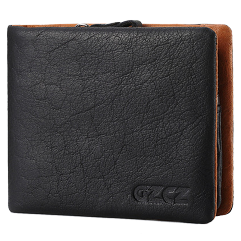 Gzcz Coin Purse Wallet Men Card-Holder Money-Bag Walet Black-S Zipper-Design Genuine-Leather