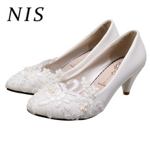 a4bbad46e3159 NIS Women Pumps Wedding Shoes Woman Flat-Heel   3cm   5cm White Slip-on  Faux Pearl Lace Flower PU Leather High Heels Pumps New