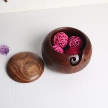 1 шт. Деревянная миска для вязания крючком с крышкой Пылезащитная миска для вязания пряжей миска для хранения для вязания Экологичная миска для вязания пряжи