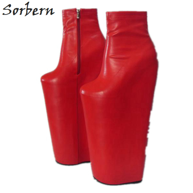 Sorbern Red 40Cm High Heel Short Boots Wedges Shoes Women Thick Platform Ladies Shoes Cosplay Super High Ankle High Boots 36-46