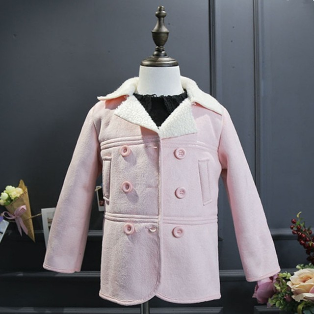 7b30ed1171a9 Children s Long sleeved Solid Suede Lamb Jacket Baby Girl Clothes ...