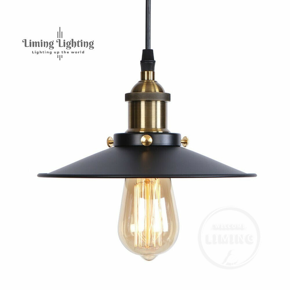 RH Loft Vintage Copper Base Edison LED Bulb Iron Shade Ceiling - Pencahayaan dalaman