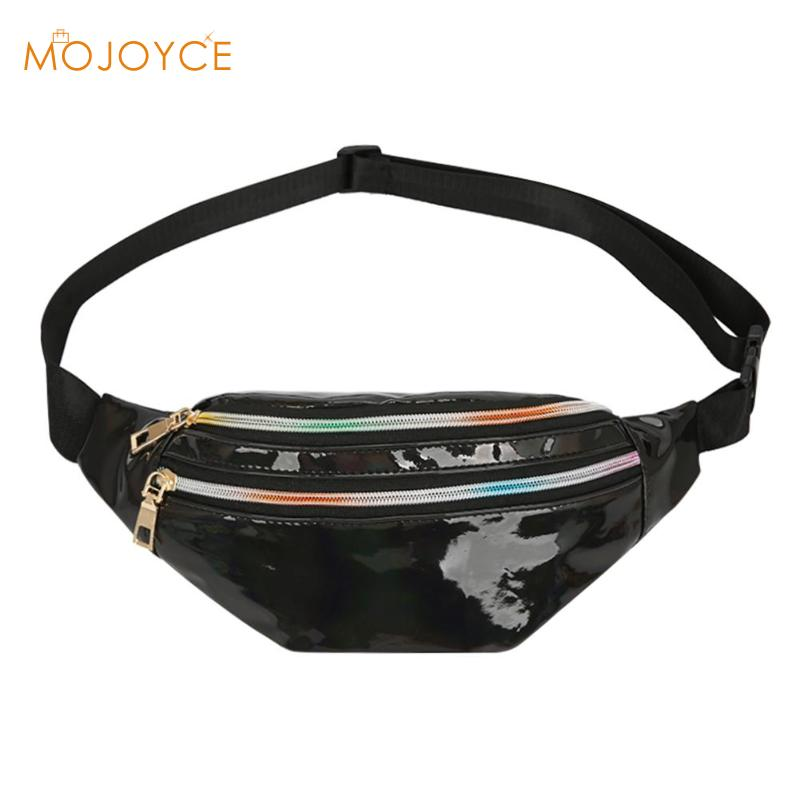 High Quality Girls Casual Summer Crossbody Fanny Packs Reflective Laser Women Belt Waist Bum Shoulder Bags 2019 New