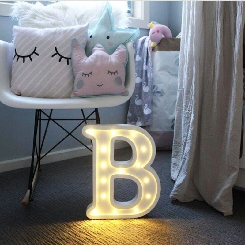 26 Letters White LED Night Light Plastic Marquee Sign Table Lamp For Birthday Wedding Party Bedroom Wall Hanging Decor Drop Ship in LED Night Lights from Lights Lighting