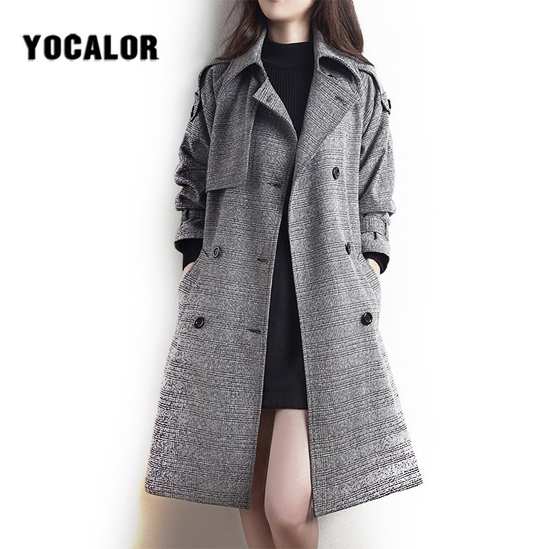 2019 Female Plaid Overcoat Coats Womens Windbreakers Autumn   Trench   Coat For Women Sashes Long Cape Manteau Femme Cloak