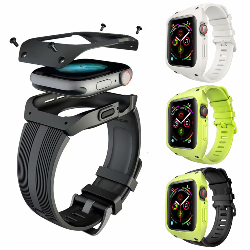 For Apple Watch 4 44mm Silicone Protective Cover Case With Sports Strap Band For Apple Watch Bands Series 4 Watchband BraceletFor Apple Watch 4 44mm Silicone Protective Cover Case With Sports Strap Band For Apple Watch Bands Series 4 Watchband Bracelet
