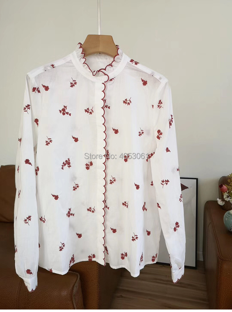 Top Kwaliteit Witte Katoen 100% Geborduurde Bloemen Blouse Top Kenmerken Geborduurd Trim 2019ss Vrouwen Embroidery Blouse Shirt-in Blouses & Shirts van Dames Kleding op  Groep 1