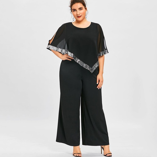7009aad5ec9 Wipalo Plus Size 5XL Sequined Overlay Wide Leg Jumpsuit O Neck Split Sleeve  Sparkly Jumpsuit Casual Solid Chiffon Maxi Jumpsuit-in Jumpsuits from  Women s ...