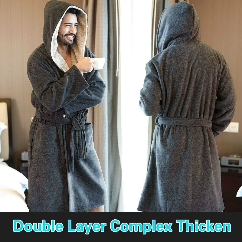 New Nordic Winter Male Bathrobe Gray Comfort Flannel String Hooded Bath Robe Men Thick Warm Long Dressing Gown