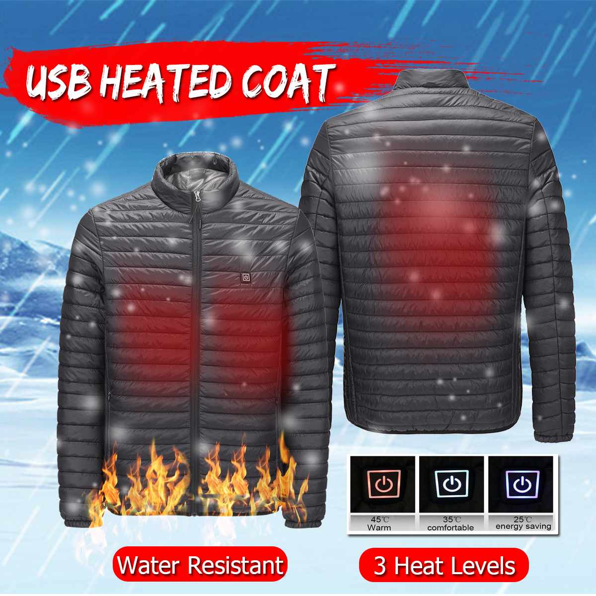 Men Women USB Fast Heating Jackets Electric Back Abdomen Heated Temperature controllable intelligent Coats Work Safety Clothing