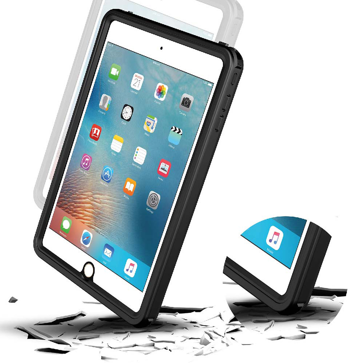 Image 5 - For iPad Mini 4 Waterproof Tablet Case Shockproof Dust Proof Tablet Cover with Adjustable Tablet Stand Built in Screen Protector-in Tablets & e-Books Case from Computer & Office