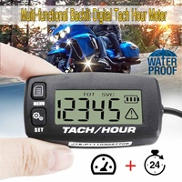 Waterproof Motorcycle Tachometer Tach Hour Meter Tachometer 2/4 Stroke Engine Backlit Universal LCD Digital Motorcycle Tachmeter