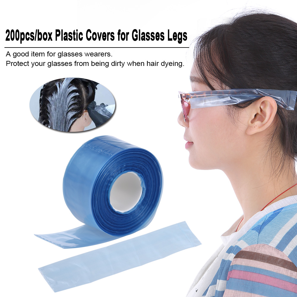200pcs/box Plastic Disposable Salon Hair Dyeing Coloring Protector Covers for Glasses Legs Slender Bag DIY Hair Styling Tool