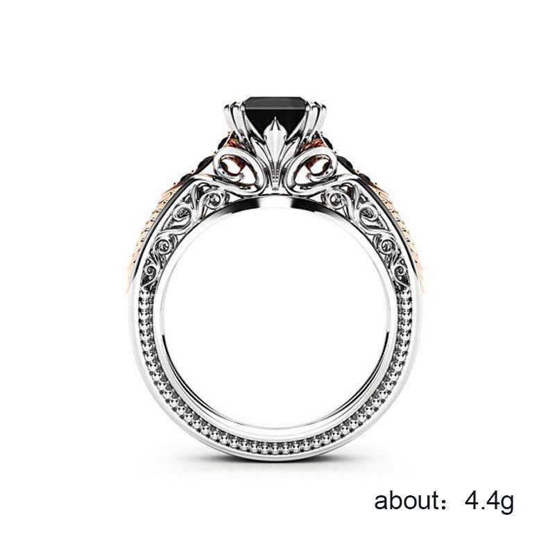 925 เงินสเตอร์ลิงเครื่องประดับ treasure แหวน Octopus สีดำสแควร์ cutout zircon แหวน Vintage เครื่องแต่งกายอินเดีย jewelryB2442
