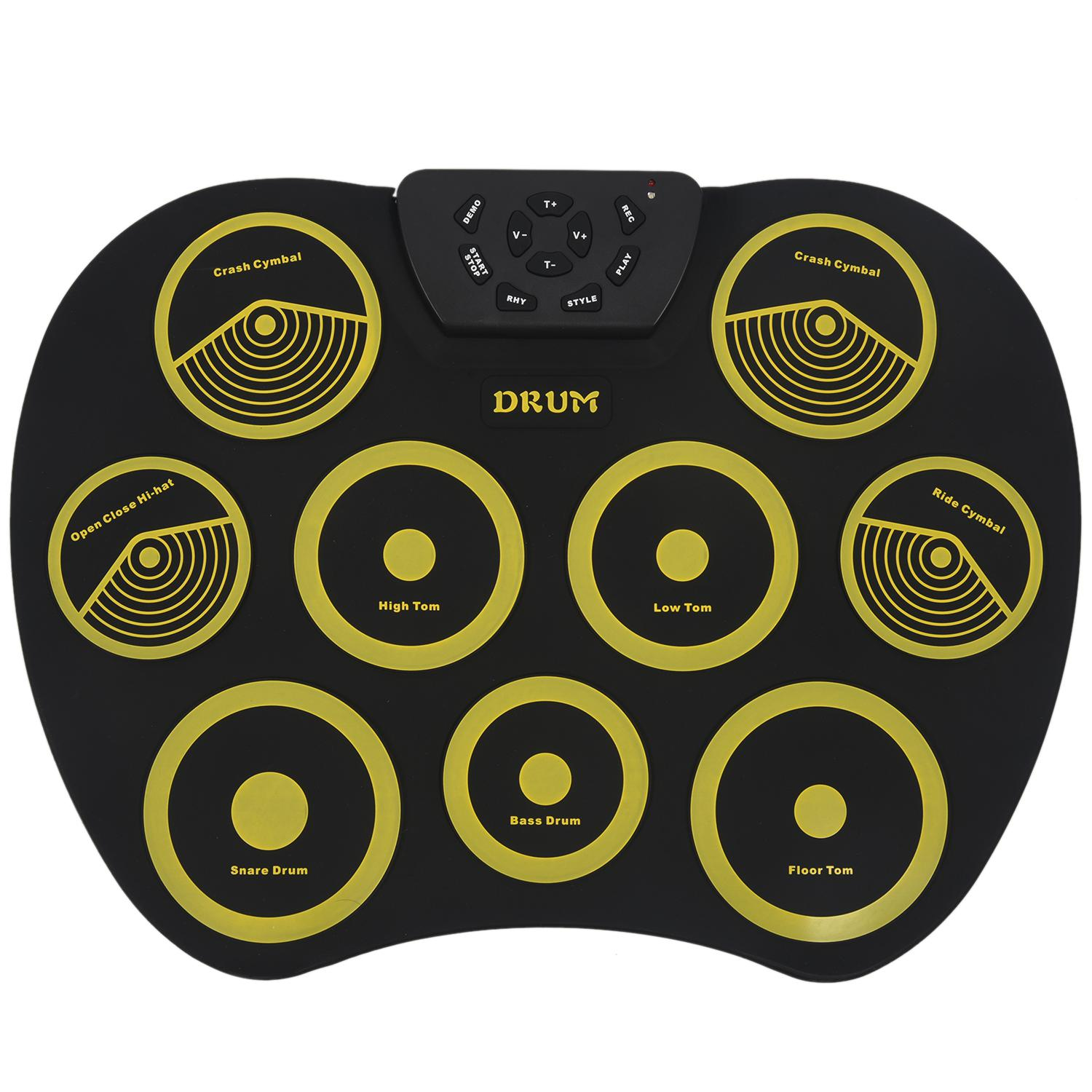 Portable Electronics Drum Set Roll Up Drum Kit 9 Silicone Pads USB Powered with Foot Pedals Drumsticks USB CablePortable Electronics Drum Set Roll Up Drum Kit 9 Silicone Pads USB Powered with Foot Pedals Drumsticks USB Cable