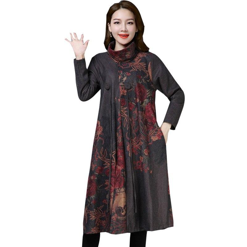 Vintage Floral Printed Wool Dress Women Autumn Winter Warm Elegant Long Sleeve Ladies Turtleneck Party Dresses Vestidos