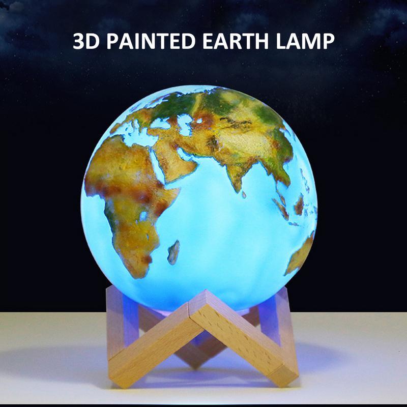 3D Painted Earth Lamp Jupiter Lamp Color