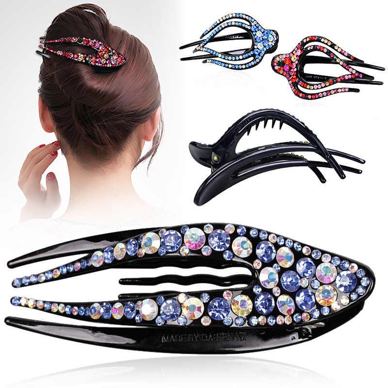 Kryształ koreański spinka do włosów dla kobiet spinka do włosów górnej stronie klip dżetów klips fryzjerski biżuteria do włosów akcesoria do włosów dla dziewczynek nad morzem