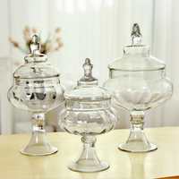 Transparen Glass Bottles Decoration Crafts Dust proof Stand Dessert Candy Jars Tea Caddy Boxes Storage Jar Home Decor