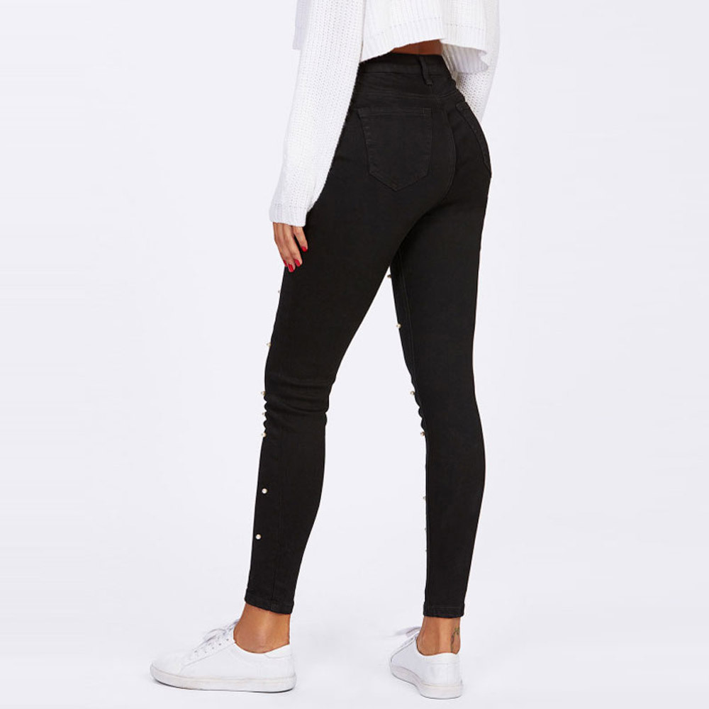 Jeans Women 2019 Spring Skinny Pencil Denim Jeans Women Casual Stretch Slim Black Pearl Pants Jean Plus Size
