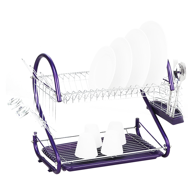 Promotion iron 2 Tiers Kitchen Dish Cup Drying Rack Drainer Color purple 42 x 24 5
