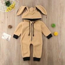 Детская одежда на молнии однотонные детские комбинезоны наряд с капюшоном и заячьими ушками для мальчиков и девочек флисовая одежда для новорожденных от 0 до 24 месяцев