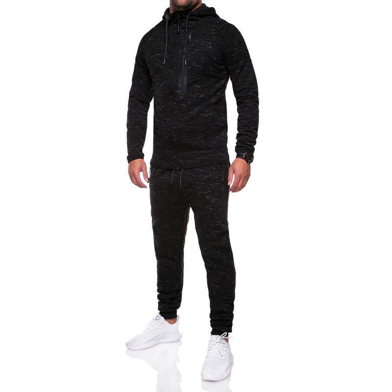 Для мужчин s спортивный костюм тренажерные залы Бодибилдинг наборы для ухода за кожей карман на молнии с капюшоном + брюки