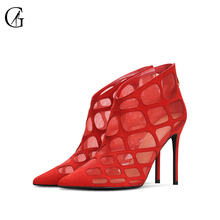 Купить с кэшбэком GOXEOU 2019 New Spring Sandals Grid Hollow Zipper Sexy High Heels Banquet Gladiator Thin Heels High-heeled Sandals Free Postage