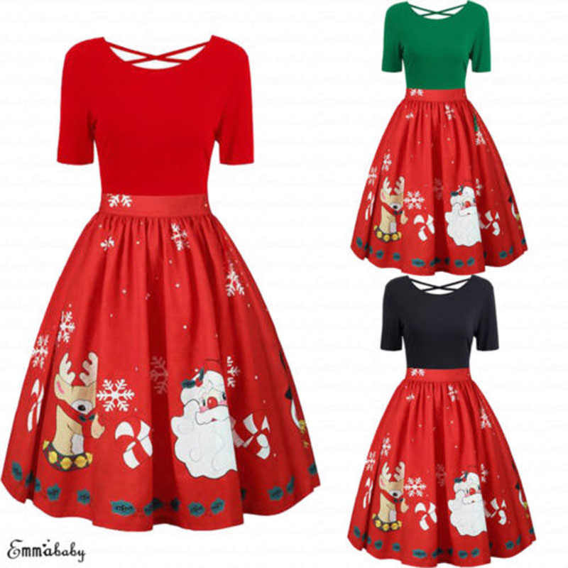 fc0768219a73e 2018 Brand New Fashion Plus Size Women Christmas Swing O-Neck Dress Santa  Skater Xmas