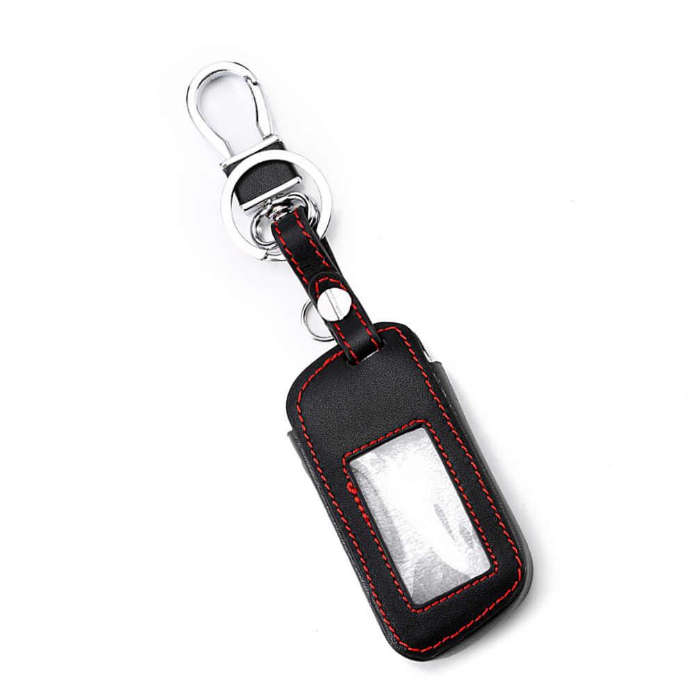 革車のキーケースカバーホルダースターライン A93 A63 車の警報リモコン液晶キーホルダーカバー財布 (赤糸)