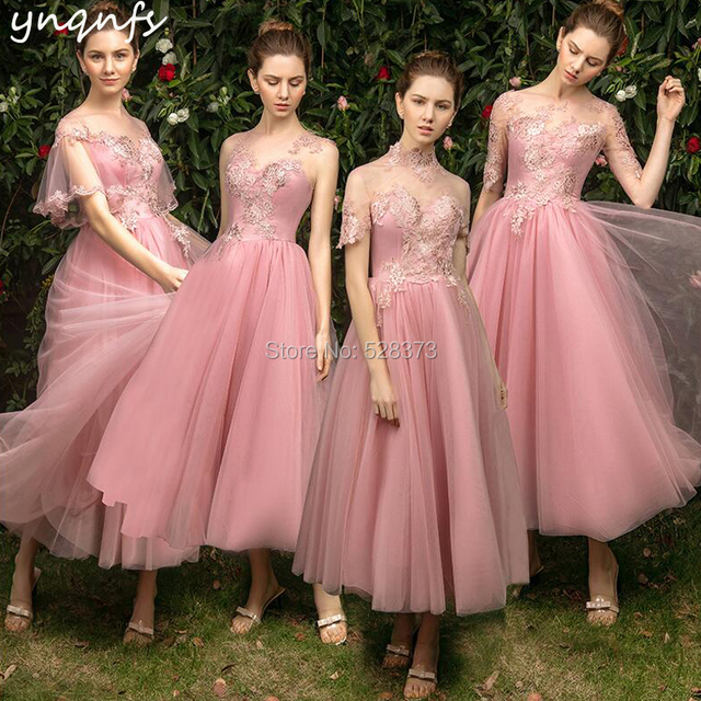 becb8ac78e4 YNQNFS B9 Real Tulle High Neck Short Sleeves Pink Vintage Bridesmaid  Dresses 50s 60s Wedding Guest