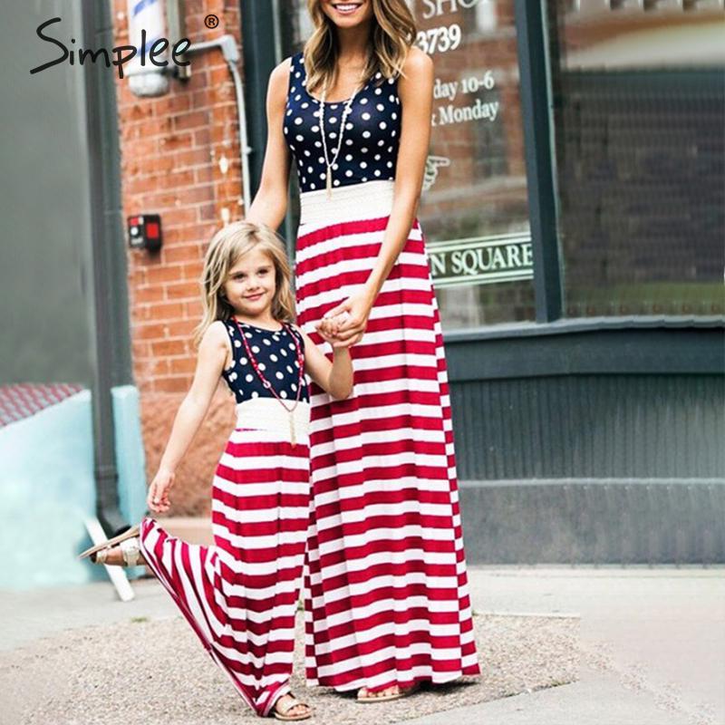 Simplee/женское длинное платье с американским флагом, 4 июля, летняя семейная одежда в горошек, платья для мам, праздничное этническое платье дл...