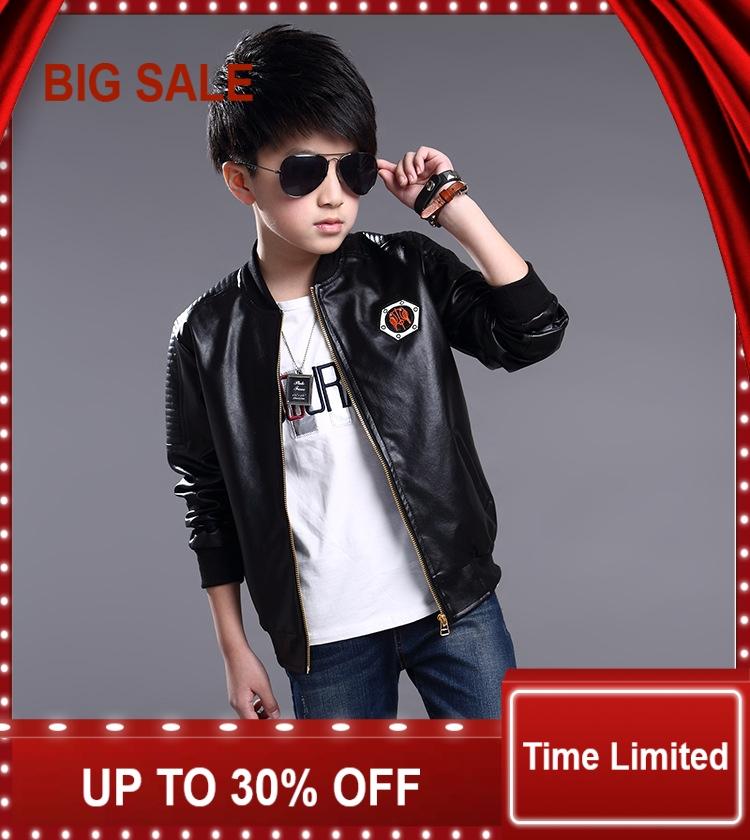 Kids Spring Stand Collar Solid jacket boys PU leather kids motorcycle outwear factory outlets