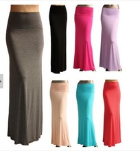 High Elastic Waist Skirts Spring Summer 3XL Plus Size Fold Over Banded Minimalist Jersey Long Maxi Women Skirt