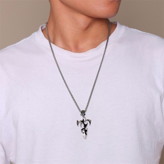 Mens Vintage Tribal Fire Cross Pendant Charm Stainless Steel Punk Necklace Men Jewelry with 24 inch 10
