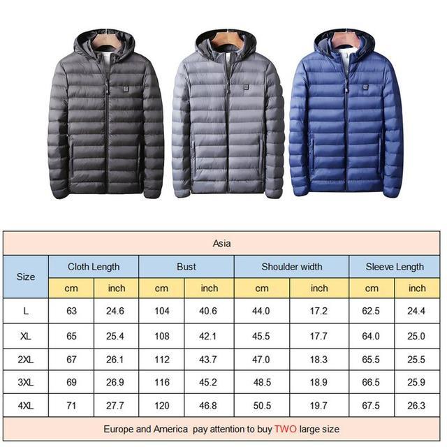 Winter Warm Heating Jackets Men Women Smart Thermostat Hooded Heated Clothing Men's Waterproof Skiing Hiking Fleece Jackets 5