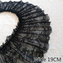 19CM Wide Black 3D Elastic Tulle Lace Fabric Cotton Embroidered Ribbon Ruffle Trim DIY Curtain Garment Tassel Sewing Supplies ruffle trim eyelet embroidered striped top